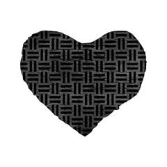 Woven1 Black Marble & Gray Leather (r) Standard 16  Premium Heart Shape Cushions