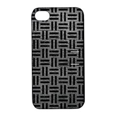 Woven1 Black Marble & Gray Leather (r) Apple Iphone 4/4s Hardshell Case With Stand