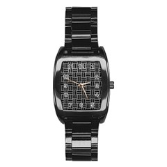 Woven1 Black Marble & Gray Leather (r) Stainless Steel Barrel Watch