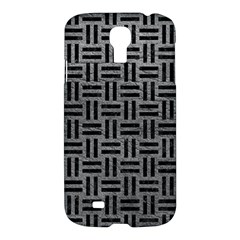 Woven1 Black Marble & Gray Leather (r) Samsung Galaxy S4 I9500/i9505 Hardshell Case
