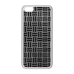 Woven1 Black Marble & Gray Leather (r) Apple Iphone 5c Seamless Case (white)