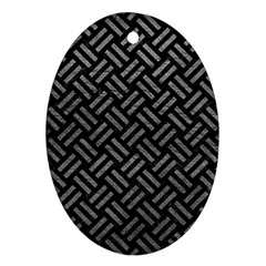 Woven2 Black Marble & Gray Leather Ornament (oval)