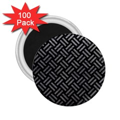 Woven2 Black Marble & Gray Leather 2 25  Magnets (100 Pack)