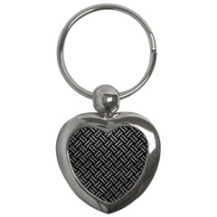 Woven2 Black Marble & Gray Leather Key Chains (heart)