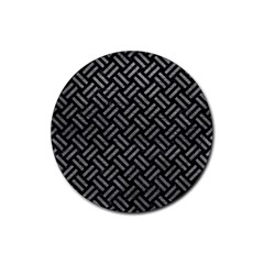 Woven2 Black Marble & Gray Leather Rubber Round Coaster (4 Pack)