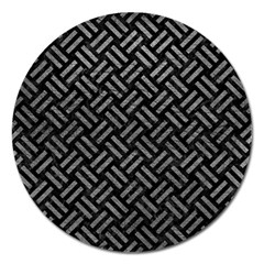 Woven2 Black Marble & Gray Leather Magnet 5  (round)