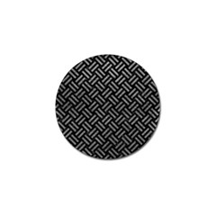 Woven2 Black Marble & Gray Leather Golf Ball Marker