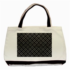 Woven2 Black Marble & Gray Leather Basic Tote Bag