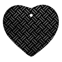 Woven2 Black Marble & Gray Leather Heart Ornament (two Sides)