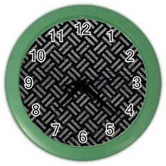 Woven2 Black Marble & Gray Leather Color Wall Clocks