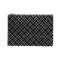 Woven2 Black Marble & Gray Leather Cosmetic Bag (large)