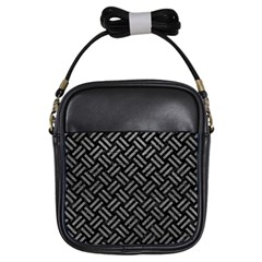 Woven2 Black Marble & Gray Leather Girls Sling Bags