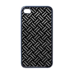 Woven2 Black Marble & Gray Leather Apple Iphone 4 Case (black)