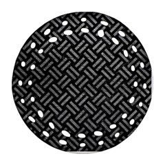 Woven2 Black Marble & Gray Leather Ornament (round Filigree)