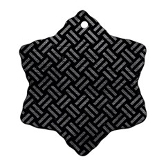 Woven2 Black Marble & Gray Leather Snowflake Ornament (two Sides)