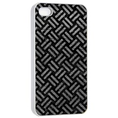 Woven2 Black Marble & Gray Leather Apple Iphone 4/4s Seamless Case (white)