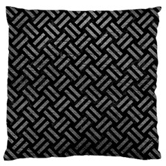 Woven2 Black Marble & Gray Leather Large Cushion Case (two Sides)