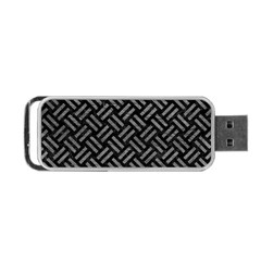 Woven2 Black Marble & Gray Leather Portable Usb Flash (one Side)