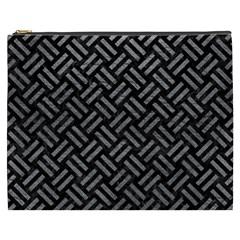 Woven2 Black Marble & Gray Leather Cosmetic Bag (xxxl)