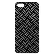 Woven2 Black Marble & Gray Leather Apple Iphone 5 Seamless Case (black)