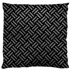 Woven2 Black Marble & Gray Leather Large Flano Cushion Case (one Side)