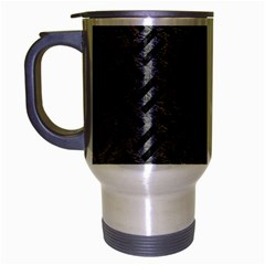 Woven2 Black Marble & Gray Leather (r) Travel Mug (silver Gray)