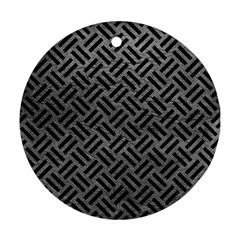 Woven2 Black Marble & Gray Leather (r) Round Ornament (two Sides)