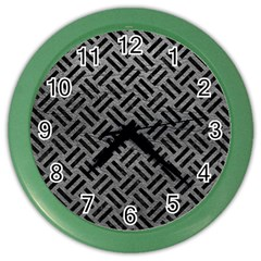 Woven2 Black Marble & Gray Leather (r) Color Wall Clocks