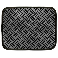 Woven2 Black Marble & Gray Leather (r) Netbook Case (large)