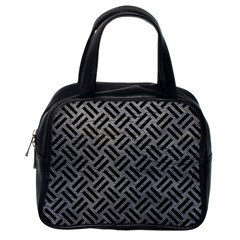 Woven2 Black Marble & Gray Leather (r) Classic Handbags (one Side)