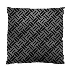 Woven2 Black Marble & Gray Leather (r) Standard Cushion Case (two Sides)