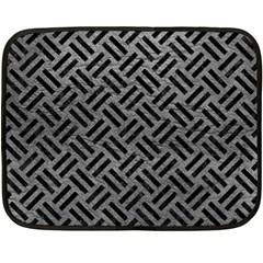 Woven2 Black Marble & Gray Leather (r) Fleece Blanket (mini)