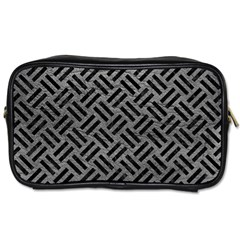 Woven2 Black Marble & Gray Leather (r) Toiletries Bags 2 Side