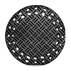 Woven2 Black Marble & Gray Leather (r) Round Filigree Ornament (two Sides)