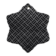 Woven2 Black Marble & Gray Leather (r) Snowflake Ornament (two Sides)