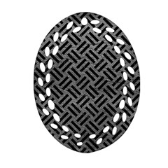 Woven2 Black Marble & Gray Leather (r) Oval Filigree Ornament (two Sides)