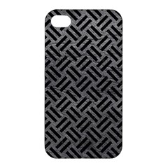 Woven2 Black Marble & Gray Leather (r) Apple Iphone 4/4s Hardshell Case