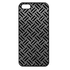 Woven2 Black Marble & Gray Leather (r) Apple Iphone 5 Seamless Case (black)