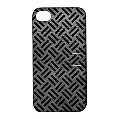 Woven2 Black Marble & Gray Leather (r) Apple Iphone 4/4s Hardshell Case With Stand