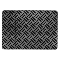 Woven2 Black Marble & Gray Leather (r) Samsung Galaxy Tab 10 1  P7500 Flip Case