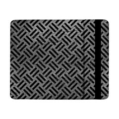 Woven2 Black Marble & Gray Leather (r) Samsung Galaxy Tab Pro 8 4  Flip Case