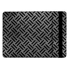 Woven2 Black Marble & Gray Leather (r) Samsung Galaxy Tab Pro 12 2  Flip Case