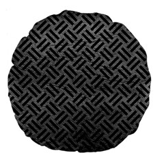 Woven2 Black Marble & Gray Leather (r) Large 18  Premium Flano Round Cushions