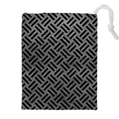 Woven2 Black Marble & Gray Leather (r) Drawstring Pouches (xxl)