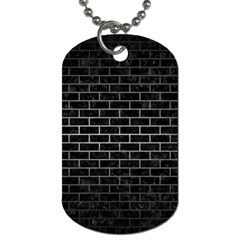 Brick1 Black Marble & Gray Metal 1 Dog Tag (two Sides)