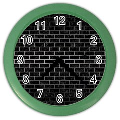 Brick1 Black Marble & Gray Metal 1 Color Wall Clocks