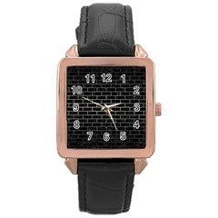 Brick1 Black Marble & Gray Metal 1 Rose Gold Leather Watch