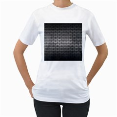 Brick1 Black Marble & Gray Metal 1 (r) Women s T Shirt (white) (two Sided)