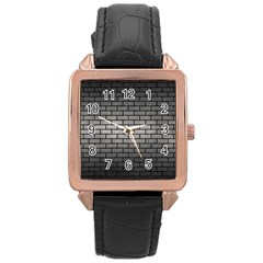 Brick1 Black Marble & Gray Metal 1 (r) Rose Gold Leather Watch