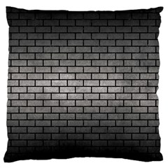 Brick1 Black Marble & Gray Metal 1 (r) Large Flano Cushion Case (one Side)